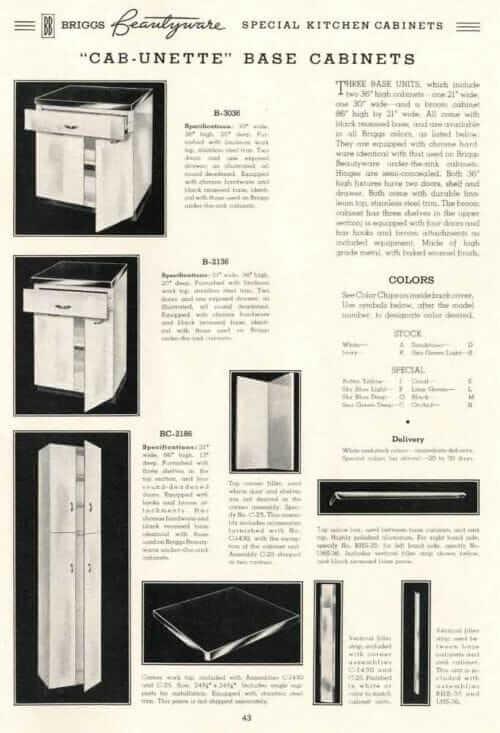 Briggs kitchen cabinets 1938