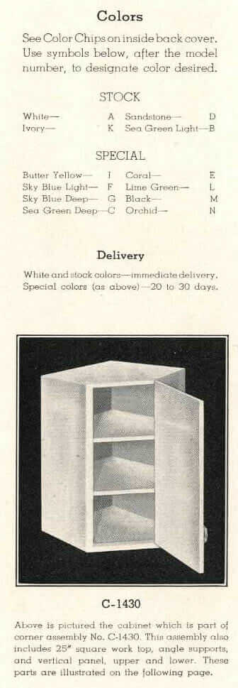 Briggs steel kitchen cabinet colors 1938