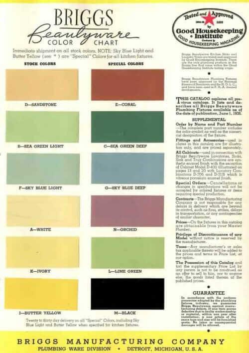 briggs bathroom colors 1938