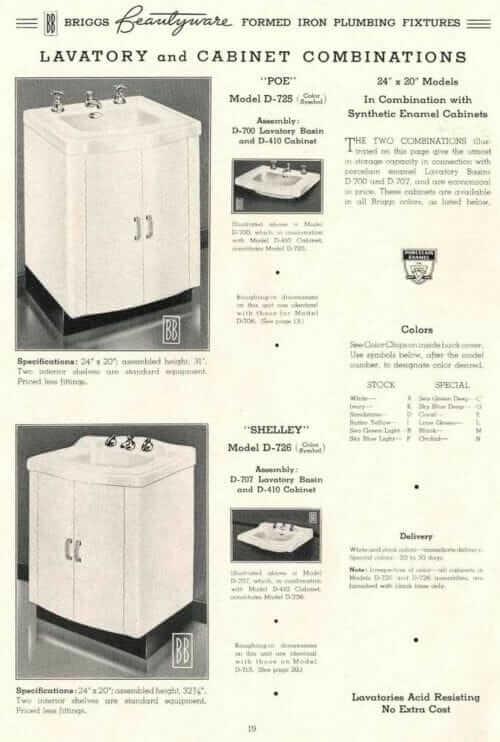 briggs bathroom vanity steel 1938