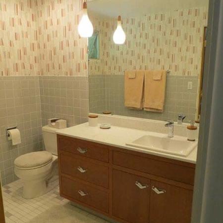 gray tile bathroom