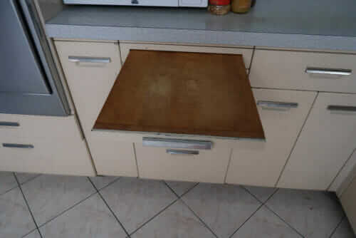 pull out cabinet bread board