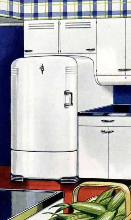 servel dry storage cabinet above the refrigerator