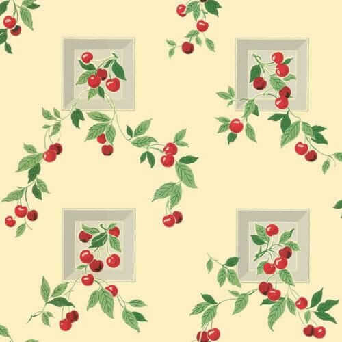 1940s cherry wallpaper vintage