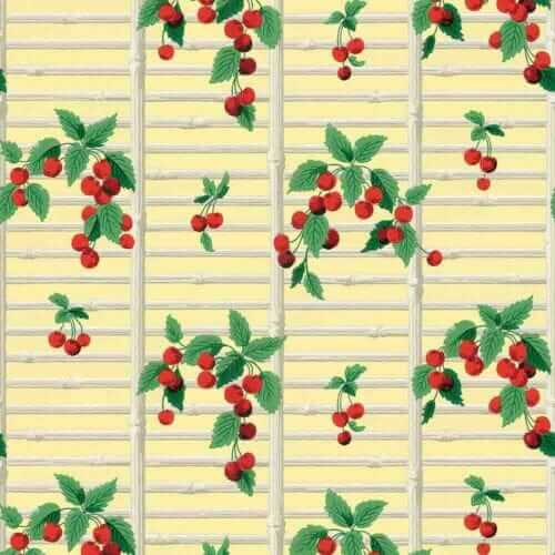 1940s vintage wallpaper reproduction cherries