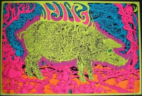 electric pig blacklight poster