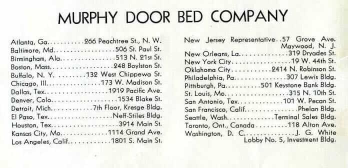 murphy door bed locations