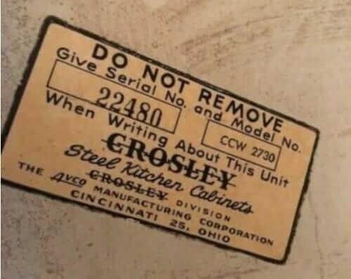 crosley kitchen cabinets label made by avco cincinnati