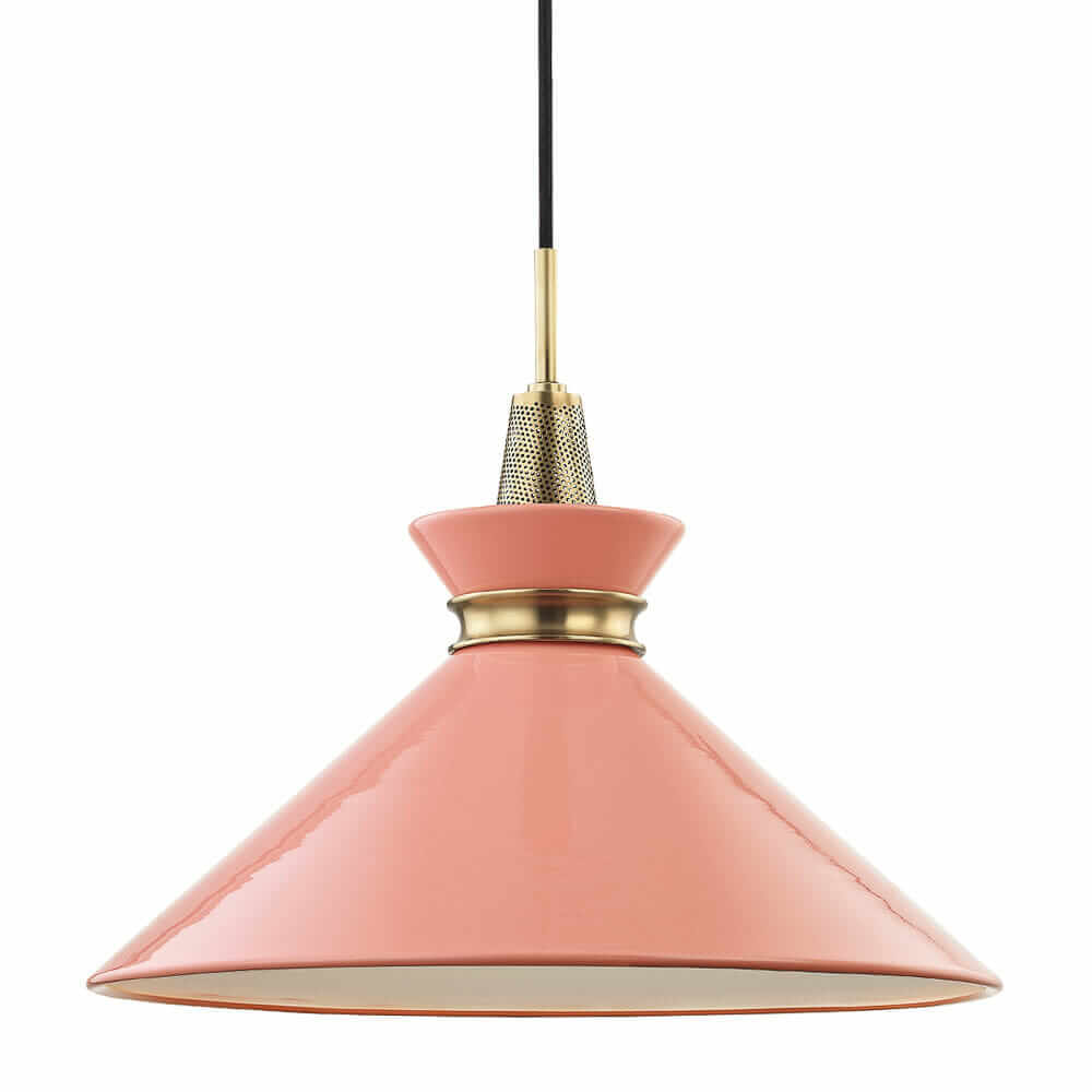 pink mid century modern pendant light kiki hudson valley lighting