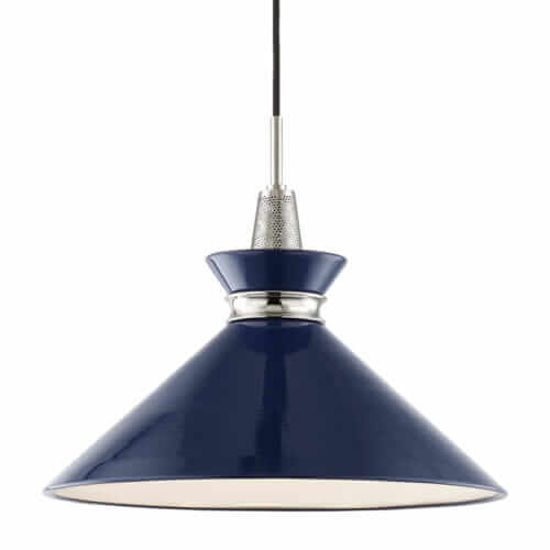 navy mid century modern pendant light kiki hudson valley