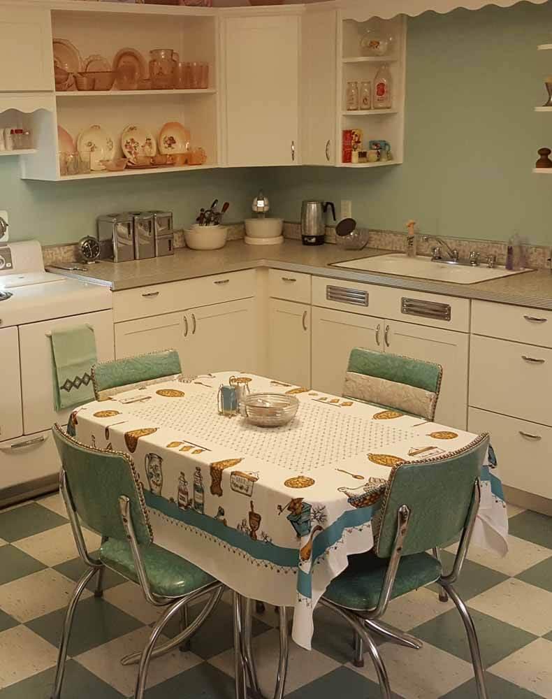 vintage green kitchen dinette
