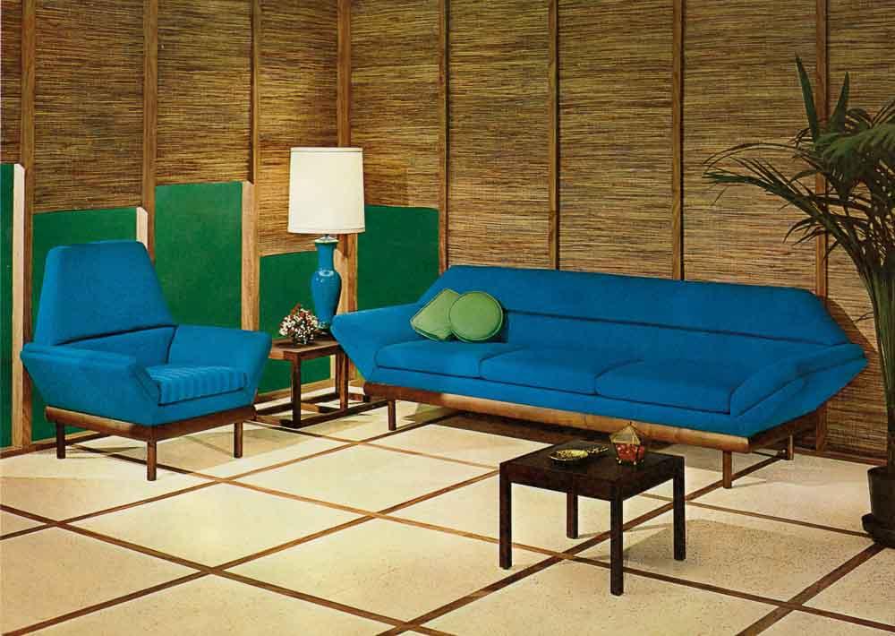 flexsteel thunderbird tight-back sofa and chair 1967