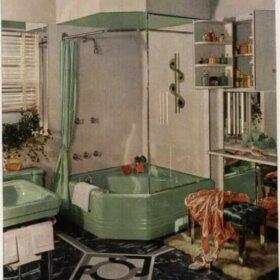green midcentury bathroom