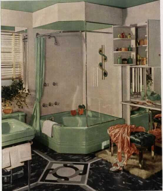 green midcentury bathroom