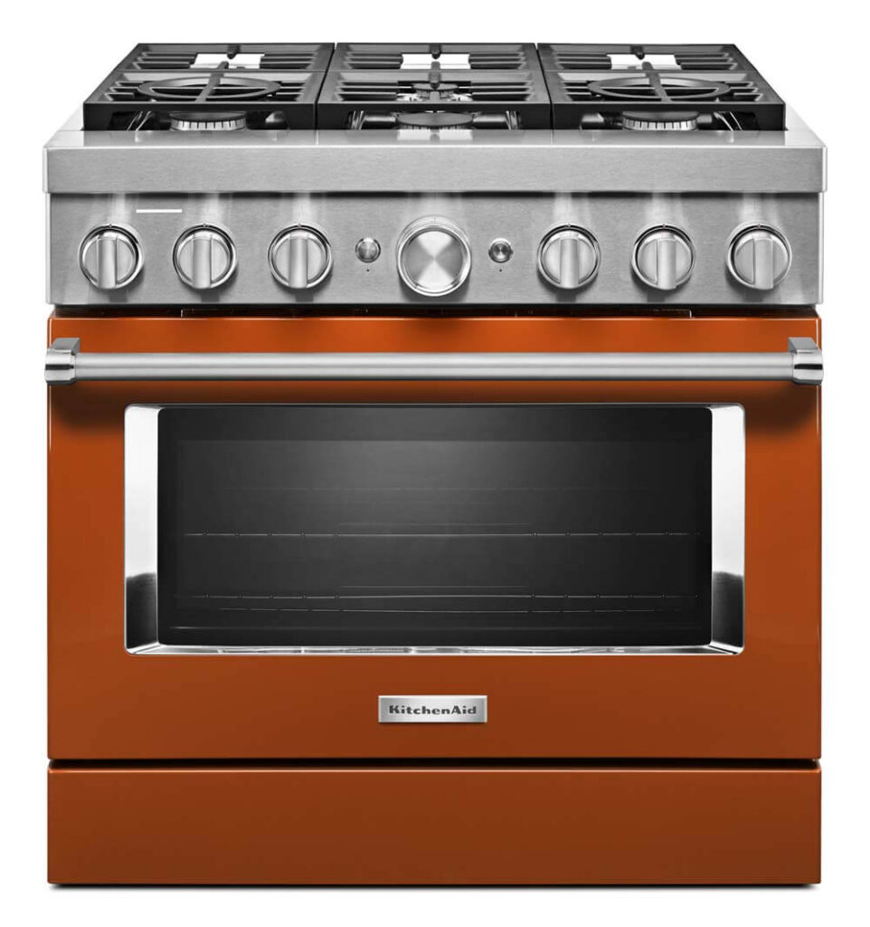 burnt orange kitchen range
