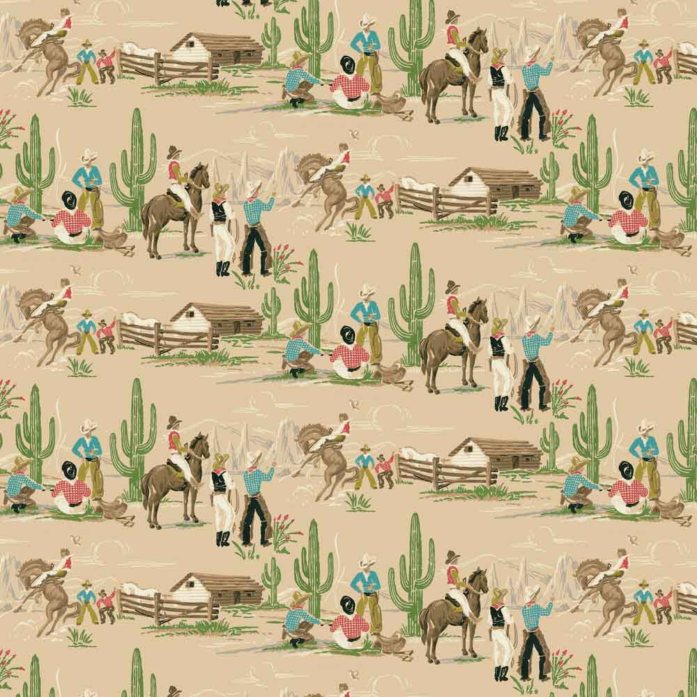 mid century childrens wallpaper cowboys