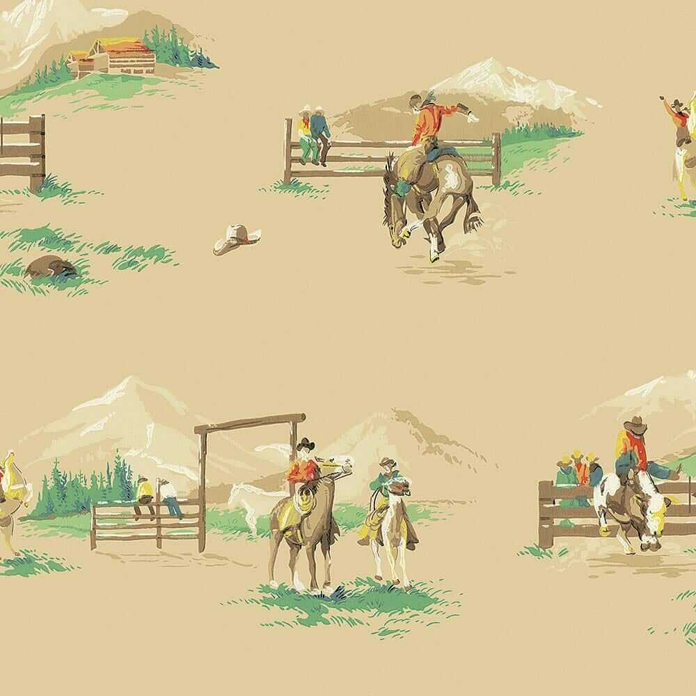 vintage rodeo wallpaper reproduction