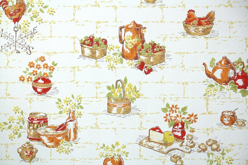 1960s wallpaper brick wall with chickens