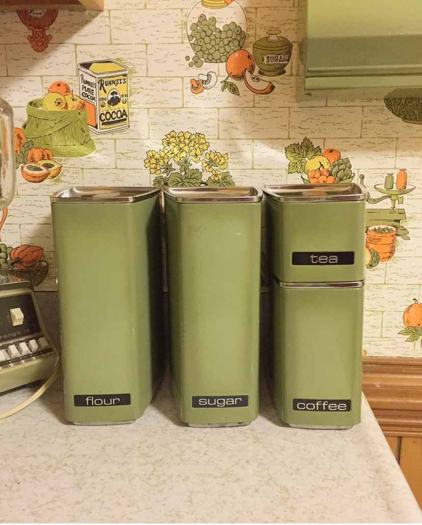 avocado kitchen canisters and avocado kitchen wallpaper