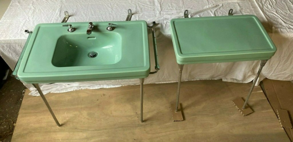1941 Standard brand green bathroom sink and matching side table
