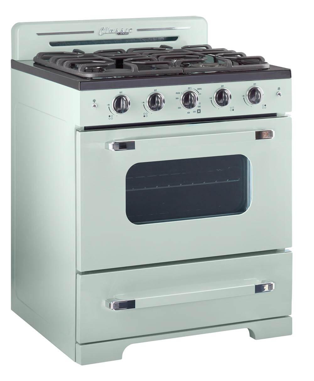"""unique appliances retro 30"""" stove in mint green"""