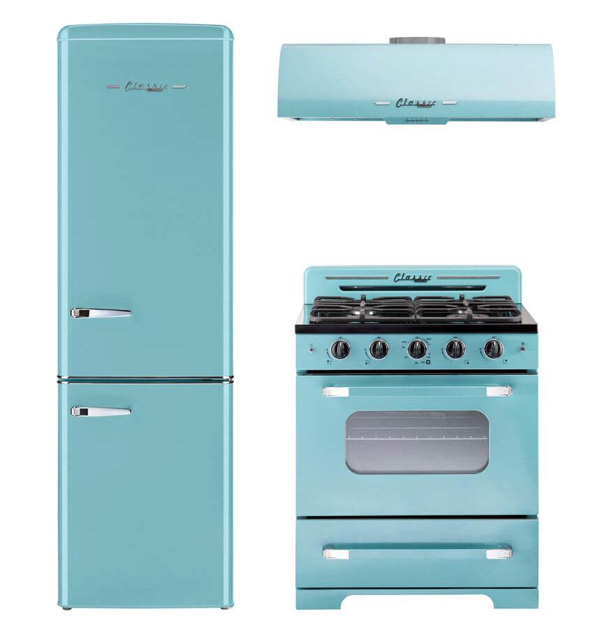retro stove refrigerator and range hood in aqua by unique appliances