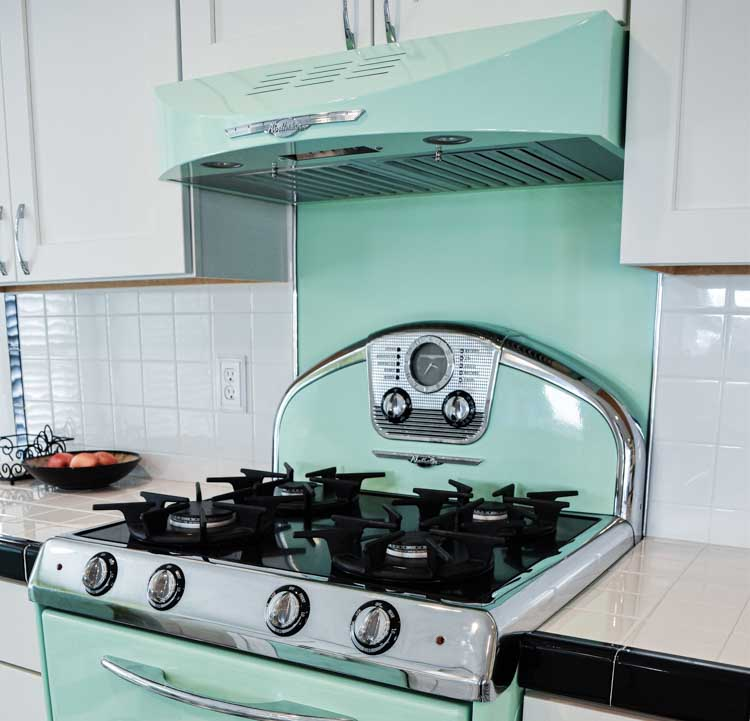 retro range hood with stove from northster