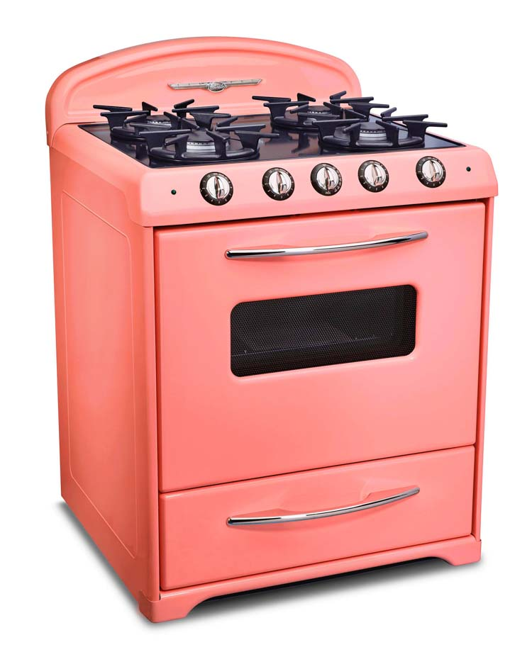 Midcentury modern oven range in pink from Northstar