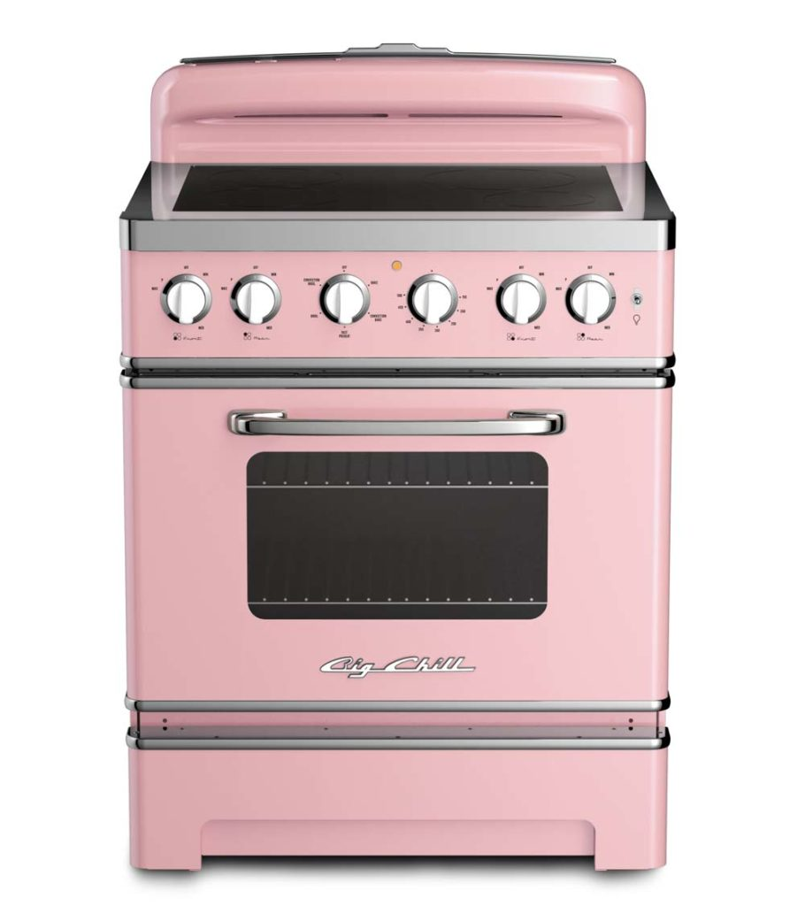 pink range with induction cook top