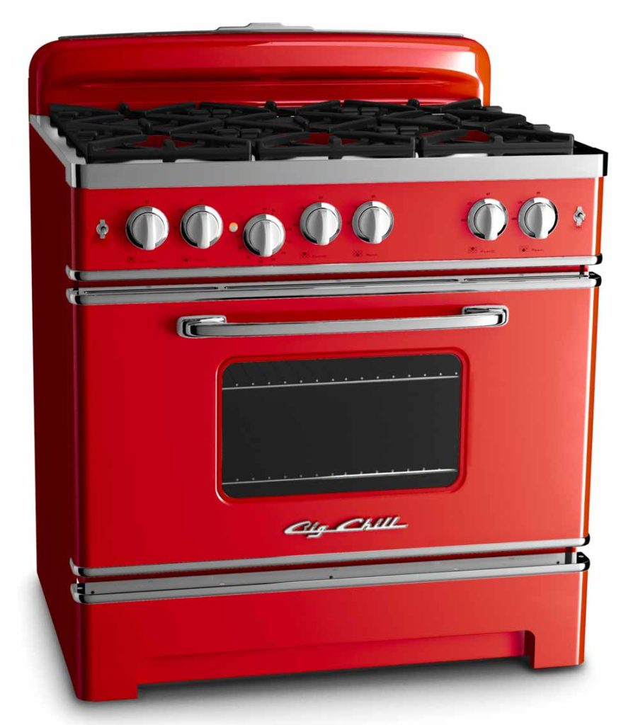 red gas range from big chill