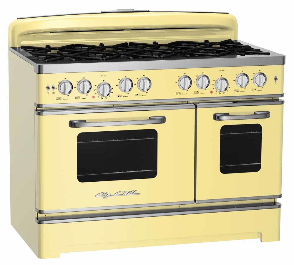 yellow retro kitchen stove from Big Chill in new 48 inch size