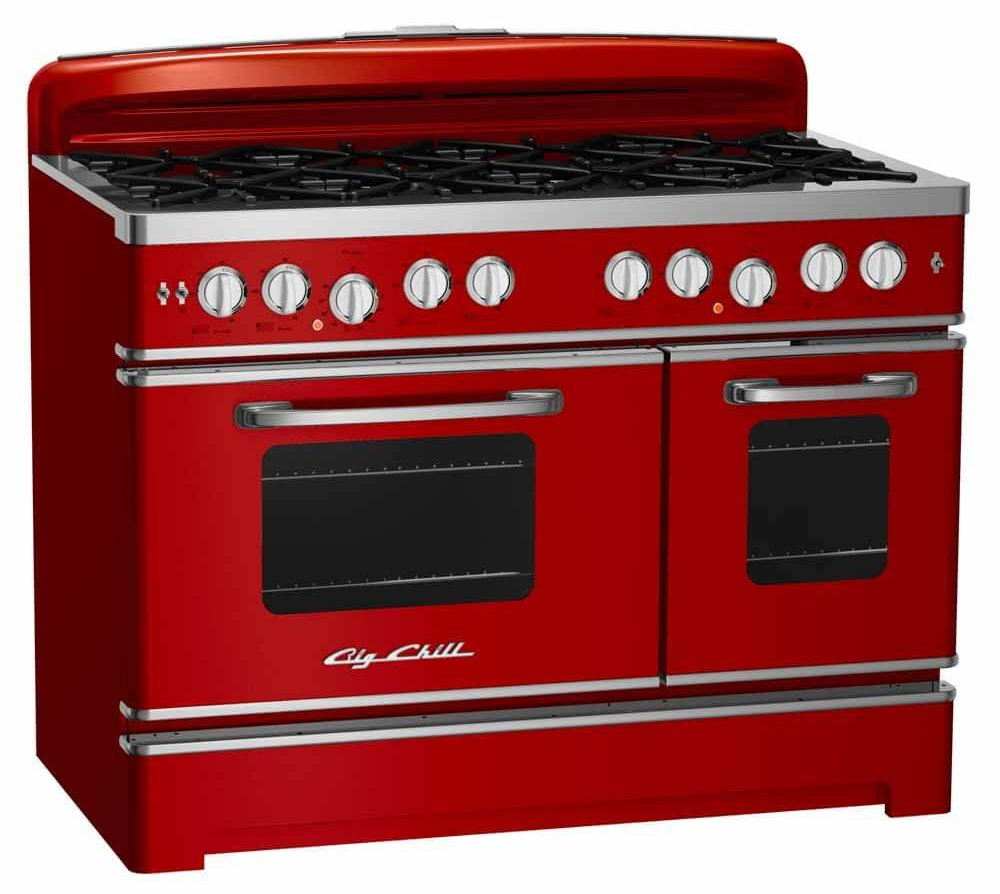retro red kitchen range made new from Big Chill in 48 inch size