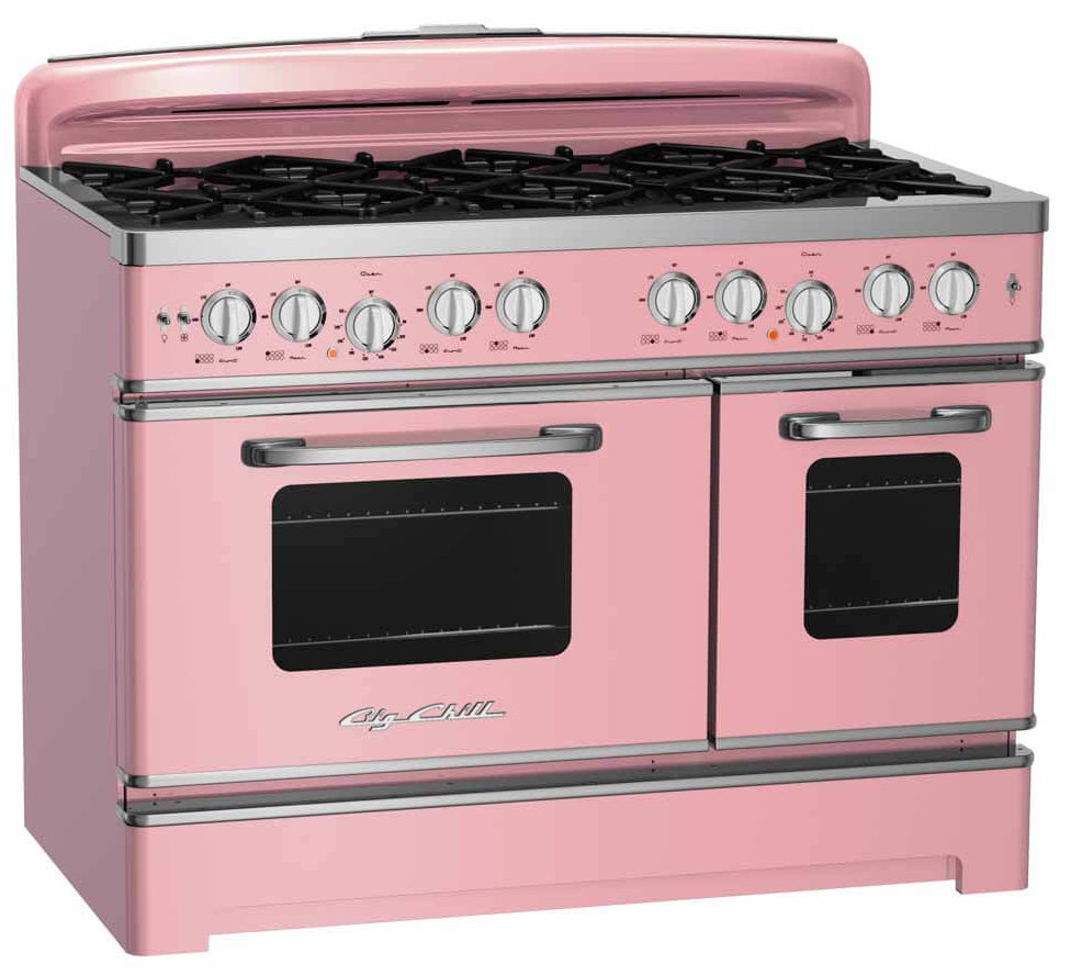 """pink retro range 48"""" wide from Big Chill"""