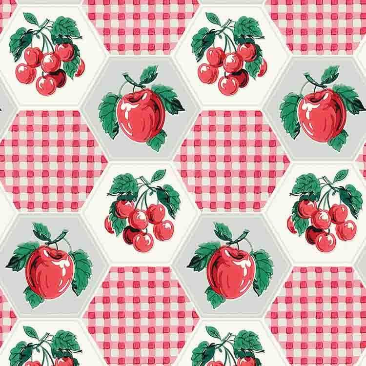 cherries and gingham wallpaper from bradbury & bradbury