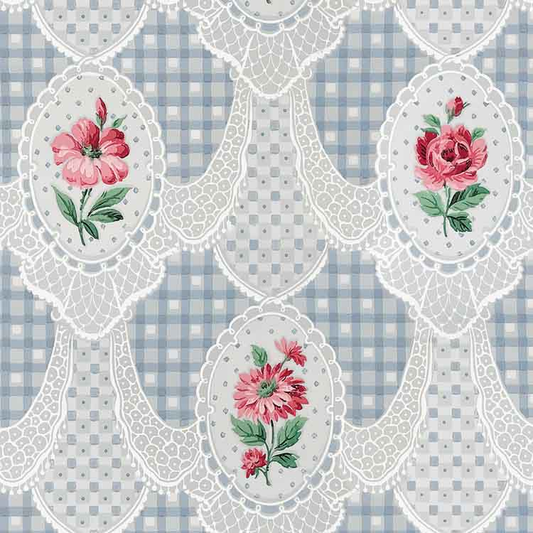 lace and roses on gingham wallpaper by bradbury and bradbury