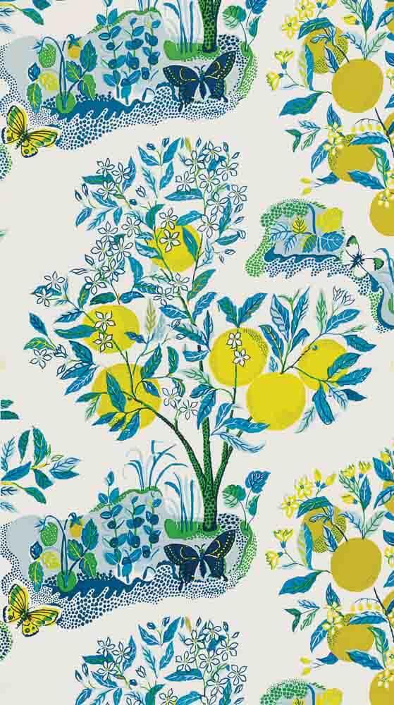 Josef Frank Citrus Garden wallpaper, pool, from Schumacher