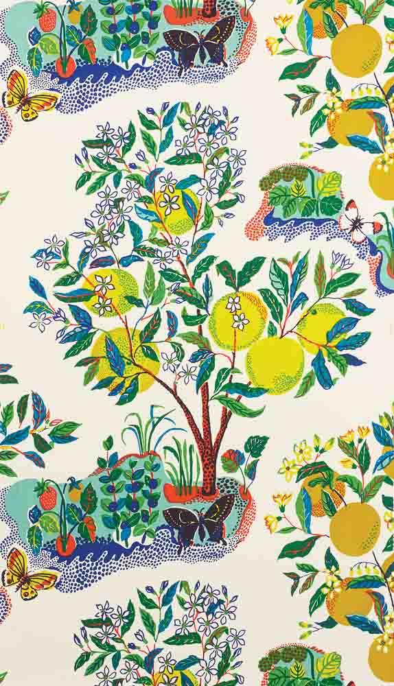 Josef Frank Citrus Garden wallpaper, primary, from Schumacher