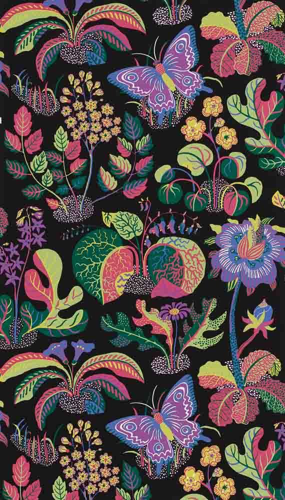 Josef Frank Exotic Butterfly wallpaper, marine, from Schumacher