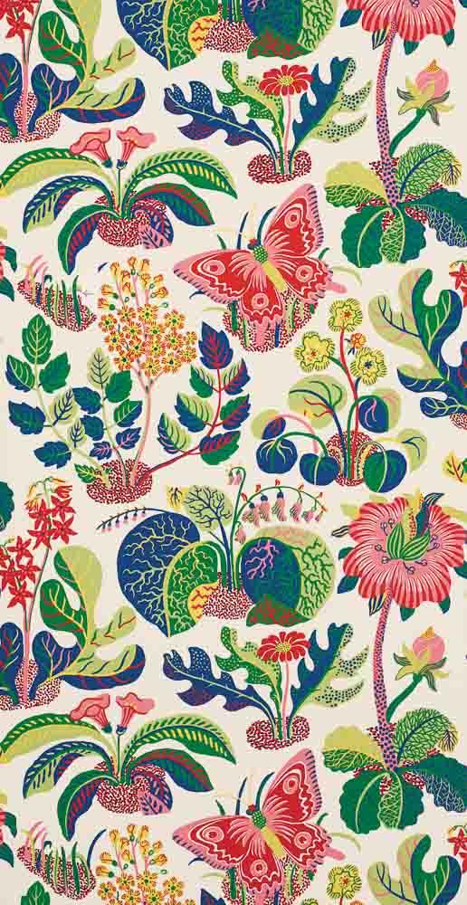 Josef Frank Exotic Butterfly wallpaper, from Shumacher