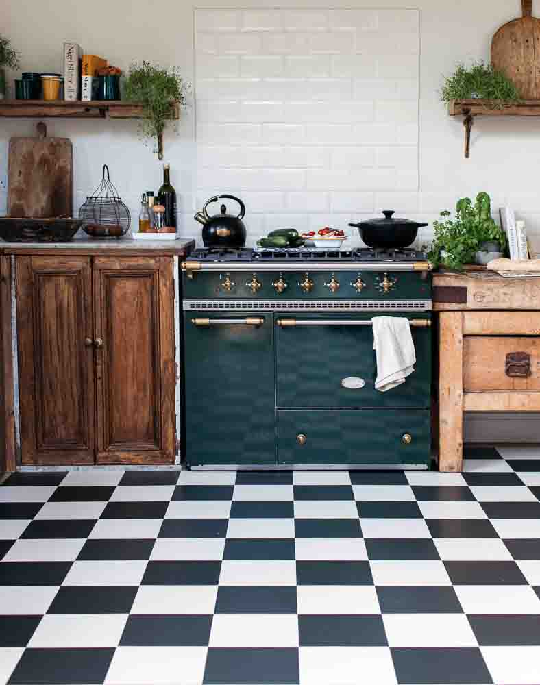 Black and white checker floor tile kitchen, tiles are a retro style 9 inches square
