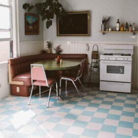 blue and white checkerboard floor from harvey maria