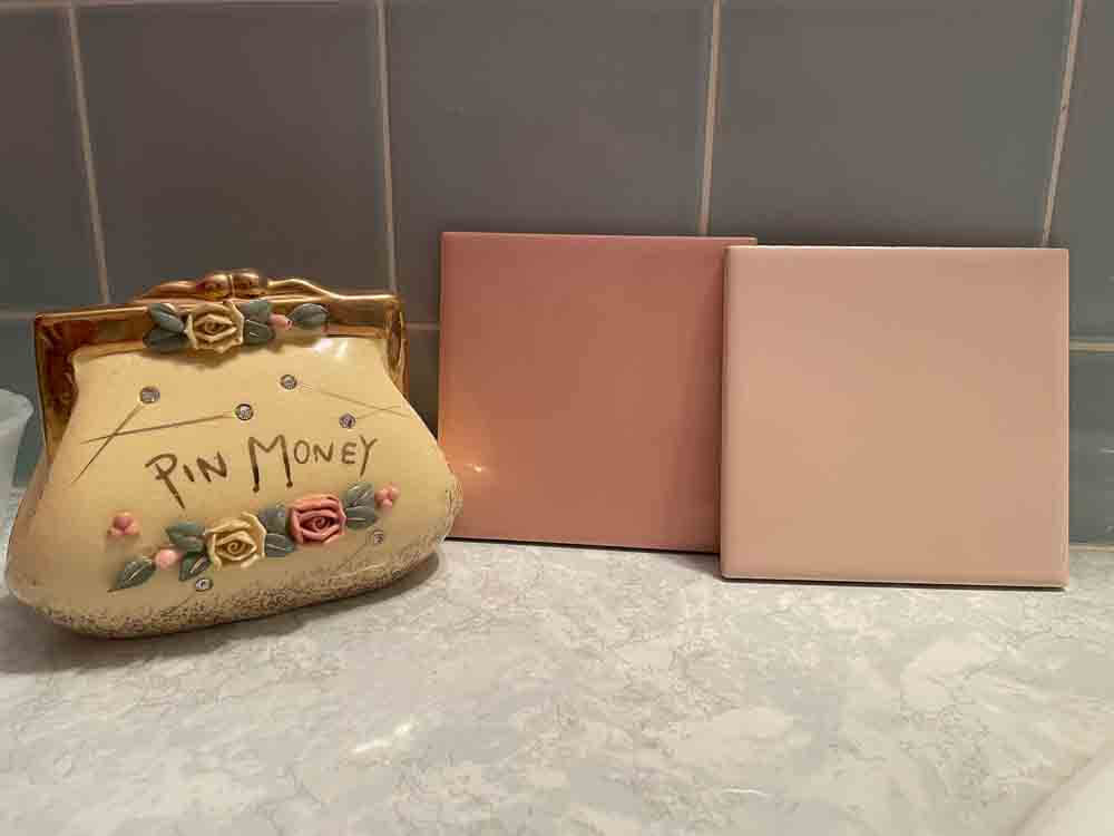 two shades of pastel pink bathroom tile from make it mid century