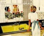 geranniums in a 1940s kitchen