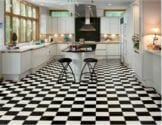 black and white checkerboard floor