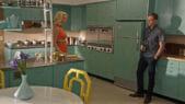 midcentury aqua kitchen